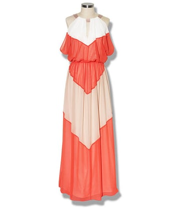 Show off your inner bohemian in this feminine coloblocked maxidress.  Vince Camuto Colorblock Batwing Maxi ($178)