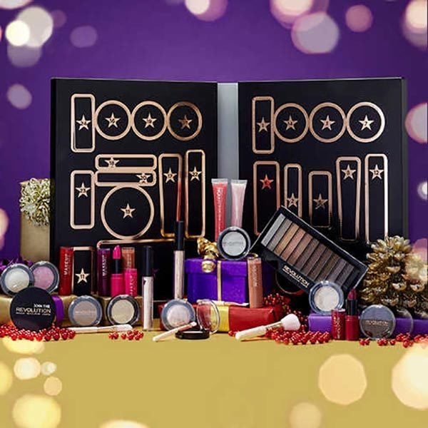 Makeup Revolution (£40)  The Makeup Revolution Advent calendar includes 25 full-sized products such as lipsticks, strobe cream, and makeup brushes.