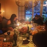 Jennifer Lopez and her family said grace before digging in.