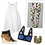 Embrace your sportier side with more athletic pieces. A sneaker wedge, racer-back tank, and a bold bra will pull the brightness of the Camilla and Marc pants together perfectly. Camilla and Marc The New English Print Pants ($350) Giuseppe Zanotti 90mm Suede and Leather Sneaker Wedges ($650) VPL Insertion Stretch-Cotton Soft-Cup Bra ($95) T by Alexander Wang Net Combo Tank ($98) Lucky Openwork Coral Cuff ($69)