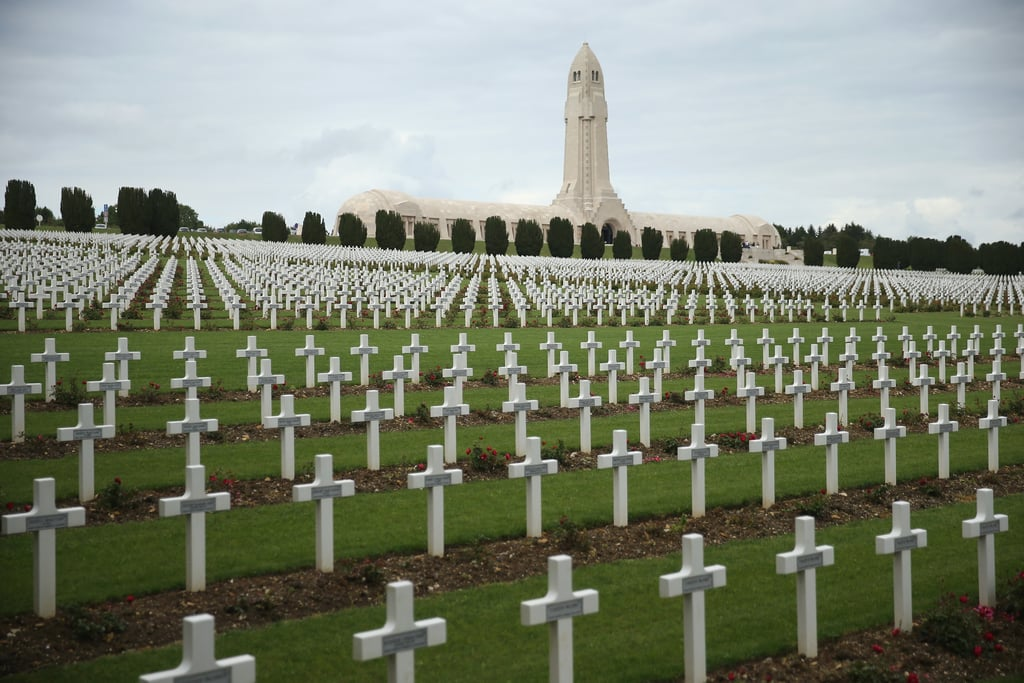 Crosses lined the French cemetery where 16,000 French soldiers killed in the World War I Battle of Verdun are buried.
