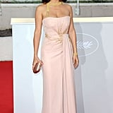 Salma Hayek wore no shortage of Gucci gowns at Cannes. This was her latest one, soft pink, gorgeous.