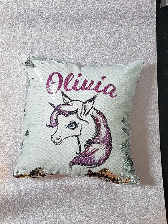 Personalized Unicorn Reversible Sequin Pillow Sequin Unicorn