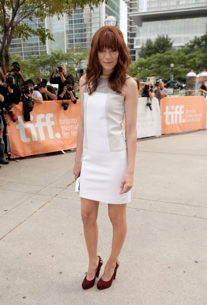 Michelle Monaghan arrived in a little white sheath dress for the premiere of Machine Gun Preacher.