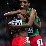 Ethiopian runner Tirunesh Dibaba was congratulated for her win by teammate Beleynesh Oljira.