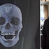A Damien Hirst diamond skull, which was a gift from Kourtney's ex Scott Disick, sits in her living room.