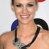 At a GQ party in 2010, January sported a voluminous top knot, which she paired with a dress-complementing metallic-blue smoky eye. And on top of that, she wore a Jennifer Behr head wrap as a sparkling necklace.