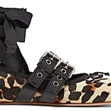 Miu Miu Lace-up Leather-trimmed Leopard-print Calf Hair Ballet Flats