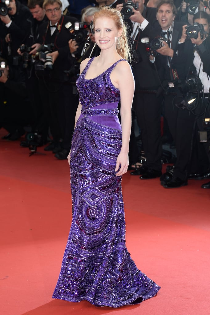 Jessica Chastain made the flashes go wild in her purple beaded gown at the All Is Lost premiere at Cannes.