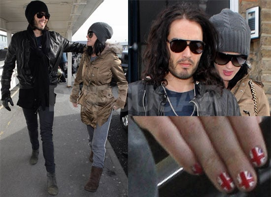 Photos of Russell Brand and Katy Perry Leaving Heathrow and Arriving at LAX