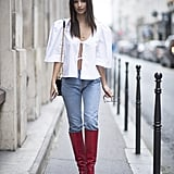 With Structured Denim and Knee-High Statement Boots