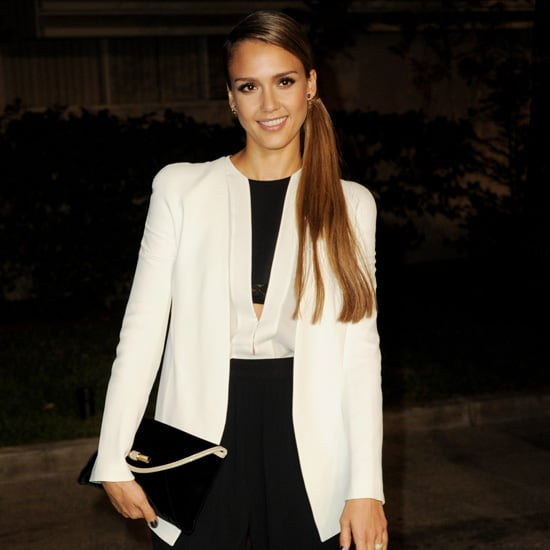 Jessica Alba Wearing Black and White Outfit
