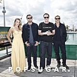 Margot Robbie, Leonardo DiCaprio, Quentin Tarantino, and Brad Pitt at the Once Upon a Time in Hollywood photocall in Berlin.