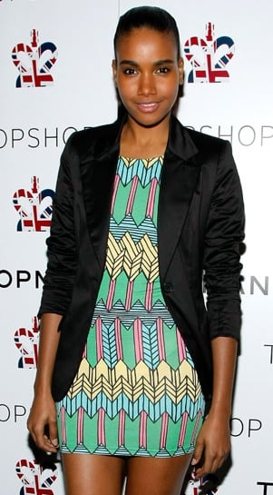 Model Arlenis Sosa at Topshop New York's Preparty in a Bright Colored Aztec Techno Print Dress and Black Blazer