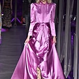 The dress first popped up on Gucci's Fall 2017 runway in a pink color.