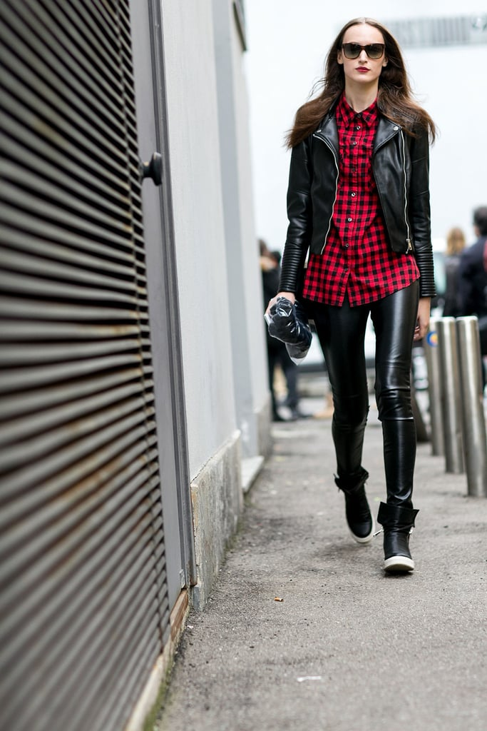 Keep Things More Casual in a Long Plaid Top and Trendy Sneakers