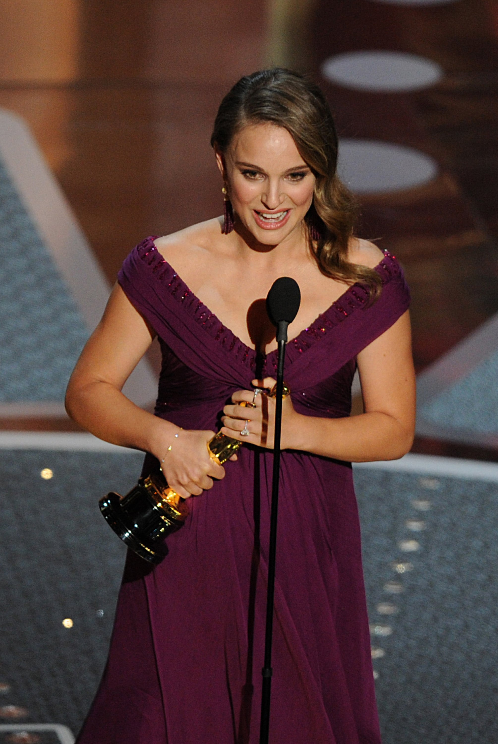 A pregnant Natalie Portman accepted her best actress award for Black Swan in 2011.