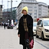 Keep Warm in a Yellow Beanie, Plaid Shirt, and Skinny Jeans
