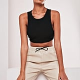 Sofia Richie x Missguided Black Rib Bandage Crop Top