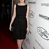 Mulligan went all black in a high-waist LBD, strappy sandals, and gold-trim clutch at a Sony Pictures dinner party in Beverly Hills.