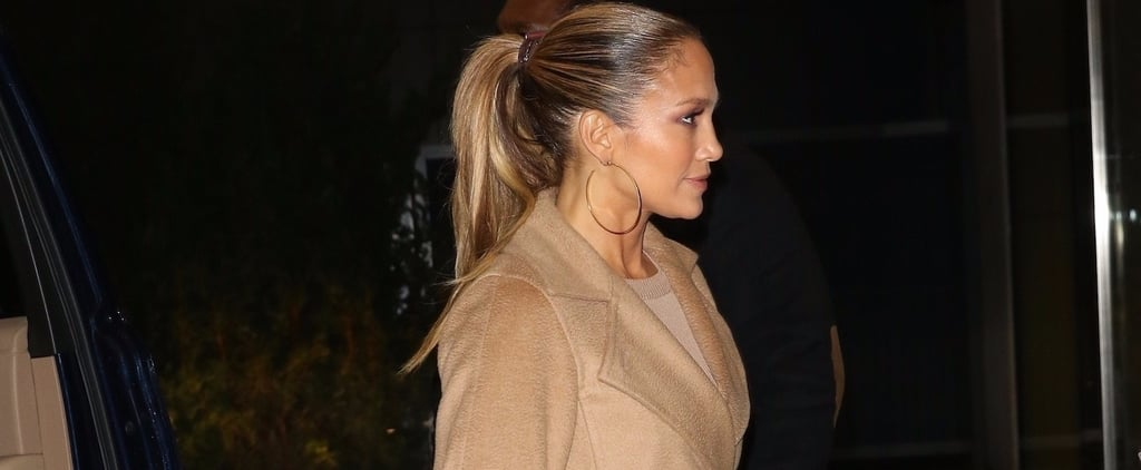 Jennifer Lopez's Valentino Rockstud Heels and Trench Coat