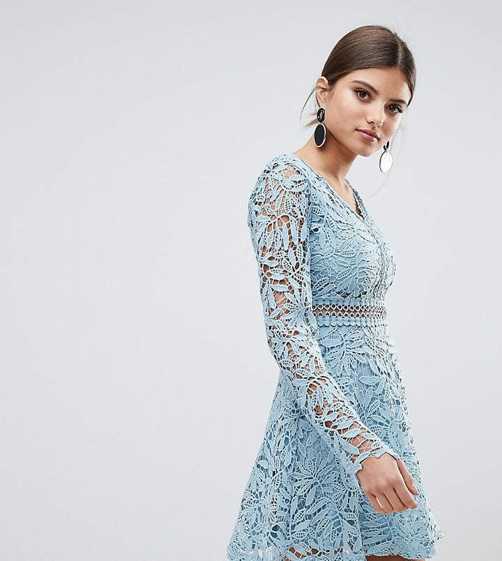 boohoo crochet lace long sleeve skater dress lauren b
