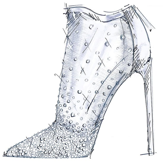 Shoe Designers Sketch Cinderella Glass Slipper