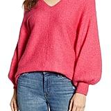 1.STATE Blouson Sleeve V-Neck Sweater