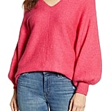 1.State Blouson Sleeve V-Neck Sweater