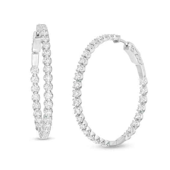 Zales Marilyn Monroe™ Collection 2 CT. T.W. Journey Diamond Inside-Out Hoop Earrings in 10K White Gold