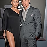 Jennifer Lopez showed a lot of leg with boyfriend Casper Smart.