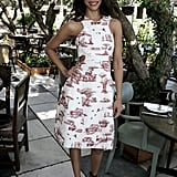 Zoe Saldana played the part of ultrachic party guest in a printed and cutout Carven sheath and Jimmy Choo sandals at the Hollywood Reporter luncheon.