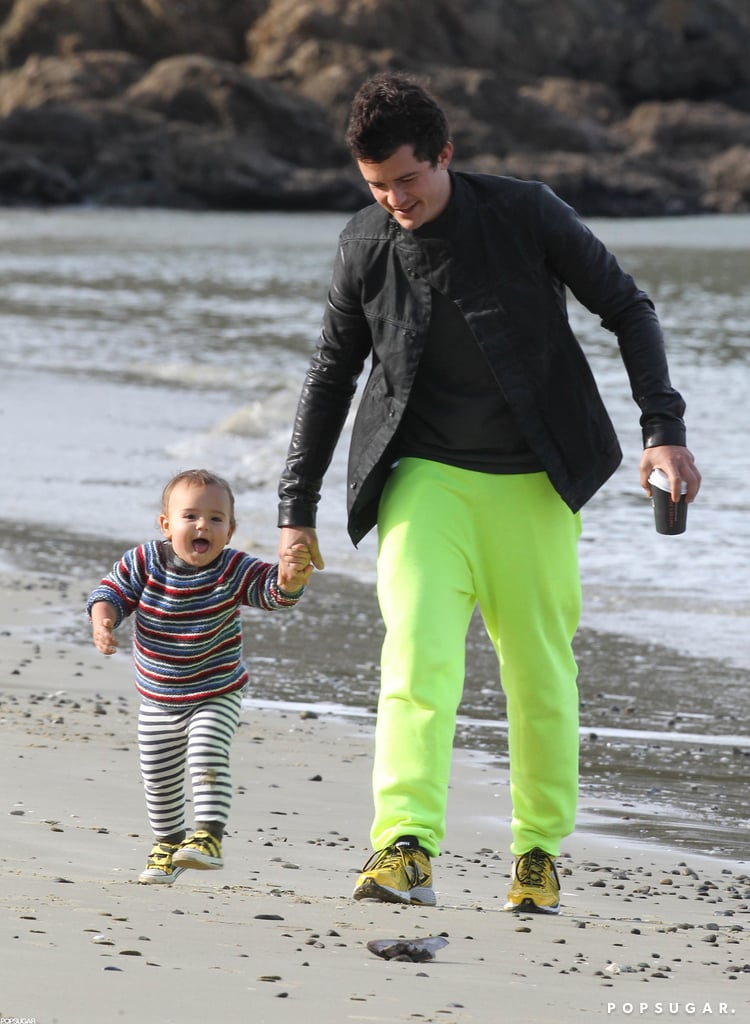 Orlando Bloom walked on a New Zealand beach with Flynn.