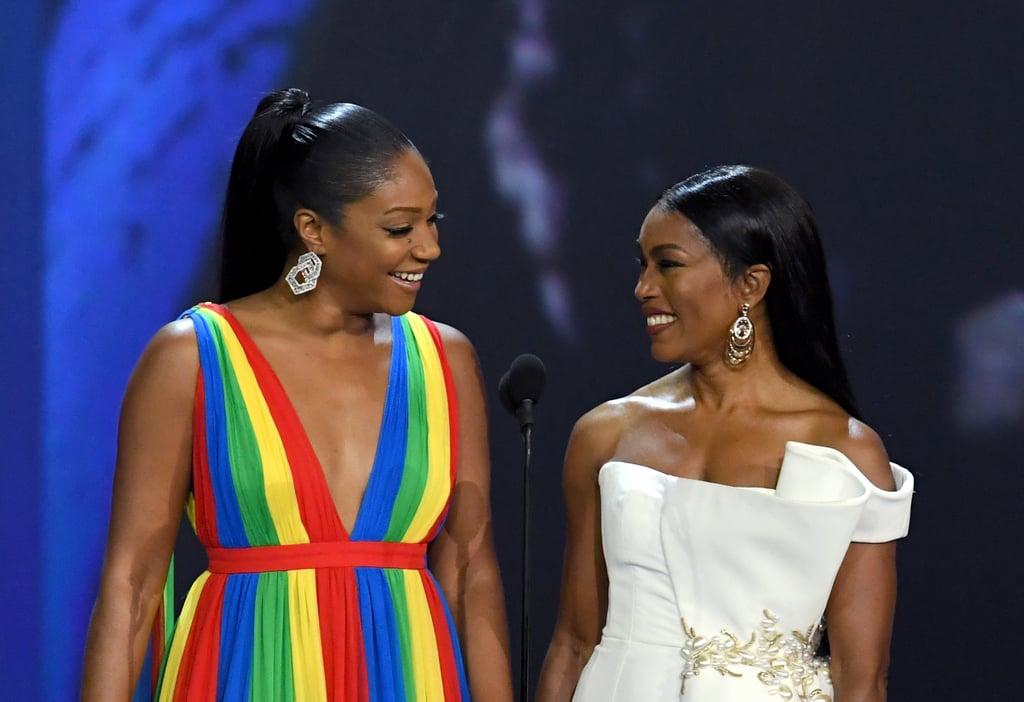 Tiffany Haddish and Angela Bassett at the 2018 Emmy Awards