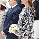 Kate's not afraid to wear a bold pattern, like this Dalmatian coat dress from Hobbs. She stepped out in the ensemble on June 2013 to attend the christening of a cruise ship.
