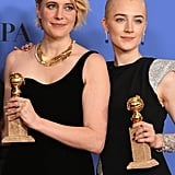 Greta and Saoirse took home awards for Lady Bird's best motion picture win at the Golden Globes.