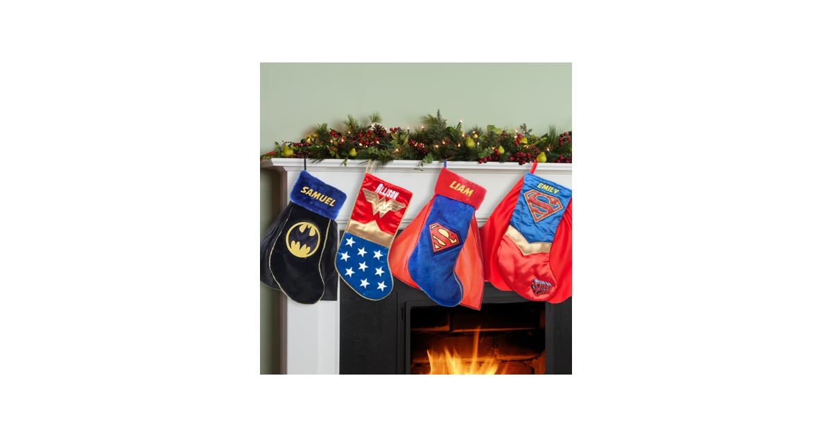 superman supergirl batman or wonder woman personalized christmas stocking best personalized christmas stockings popsugar family photo 3