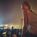 Leonardo DiCaprio's girlfriend, Toni Garrn, watched the music. Source: Instagram user gabrielamoussaieff