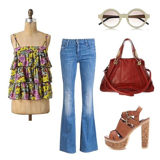 Capitalize on the cool '70s feel of your favorite flares with a breezy tiered tank and a pair of sky-high platforms. Swap out the shades and carry-all for a smaller clutch and a pair of statement earrings to take this look from afternoon lunch to date night. Get the Look:  Mother Denim the Mellow Drama Jean ($220) Leifnote Tiered Petunia Tank ($98) Twelfth St. by Cynthia Vincent Petra Platform Sandals ($350) Illesteva Frieda Round-Frame Sunglasses ($260) Chloé Paraty Medium Leather Shoulder Bag ($2,145)
