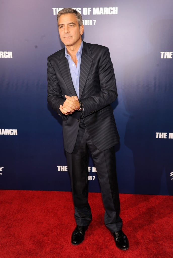 George Clooney wore a crisp blue suit at the premiere of The Ides of March in NYC.