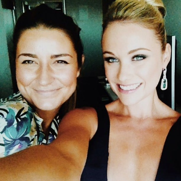 Katrina Bowden opted for a smoky eye for the Emmys and posed with her makeup artist to show it off. Source: Instagram user dontjeneralize