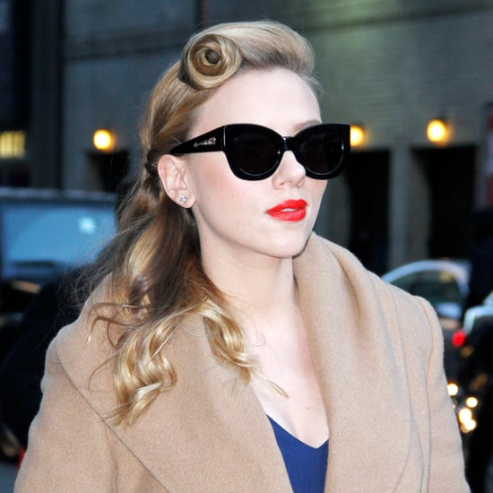 Scarlett Johansson on David Letterman Show With Retro Hair