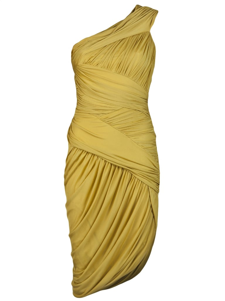 This dress drapes and hugs in all the right places, and the chartreuse hue looks great on all skin tones.  Halston Heritage Ruched One Shoulder Dress ($425)