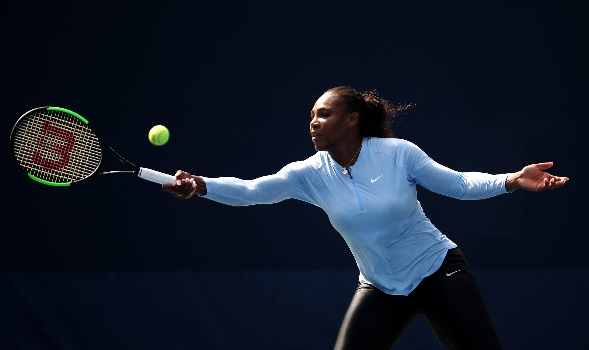 NEW YORK, NY - AUGUST 26:  Serena Williams of USA plays a forehand during previews for the US Open at USTA Billie Jean King National Tennis Centre on August 26, 2018 in the Flushig Neighbourhood of Queens borough of New York City.  (Photo by Julian Finney/Getty Images)