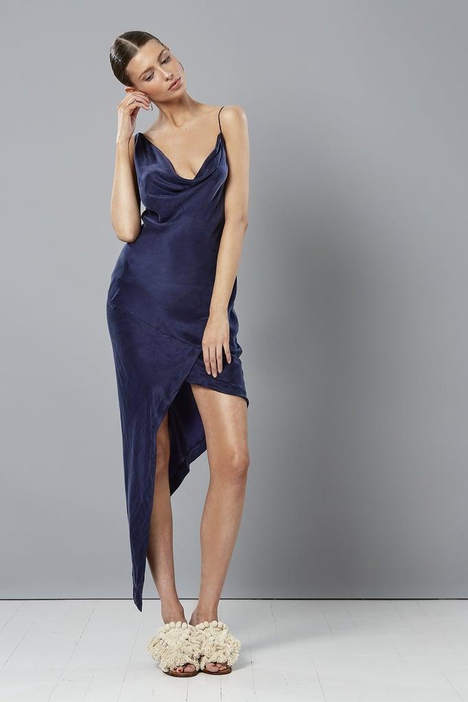 Winona Violet Asymmetrical Navy Dress