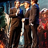 Robert Downey Jr. and Jeremy Renner hung out on stage at the premiere of The Avengers in London.