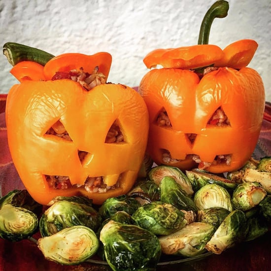 Pictures of Stuffed Jack- o'-Lantern Peppers For Halloween