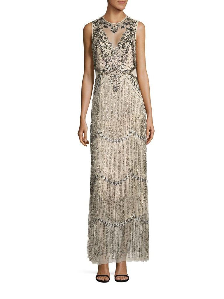 Adrianna Papell Beaded Fringe Gown | Chrissy Teigen\'s Silver Fringe ...