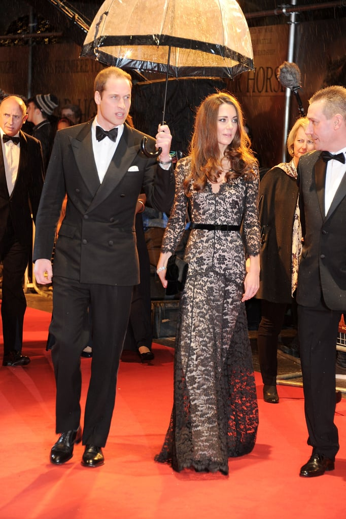 Kate Middleton had Prince William by her side when she wore a black lace gown to attend the January 2012 premiere of War Horse in London.