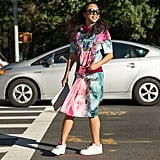 A Pink and Blue Shirtdress That Makes You Feel Like a Princess — With Sneakers